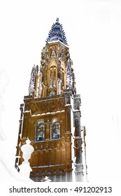 Surreal picture Cathedral of city of Toledo,Castilla La Mancha, Spain,  Abstract surrealism, Gothic architectural style, white background, church tower, religious building, Gothic art, world heritage