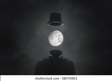 surreal picture solitary man with moon face with hat