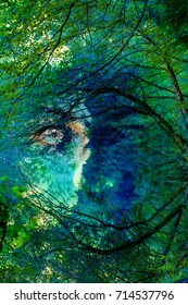 Surreal portrait of a girl - Mother nature concept, in the background girl eyes