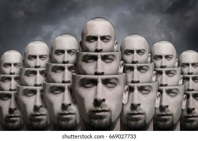 Surreal portrait. Human head divided on several parts.