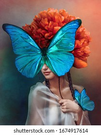 Surreal portrait of a woman with butterflies and peony flower. Interior photo art in art deco style. Beautiful surrealistic art picture with blue, orange, green color. Mixed media. - Shutterstock ID 1674917614