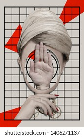 Surreal portrait of a woman. Contemporary art collage