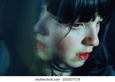 Surreal portrait of a young woman