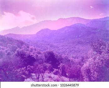 Surreal Purple Hills Fantasy Landscape