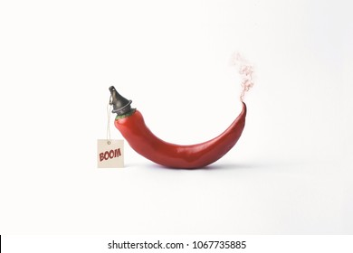 surreal red hot chili pepper concept