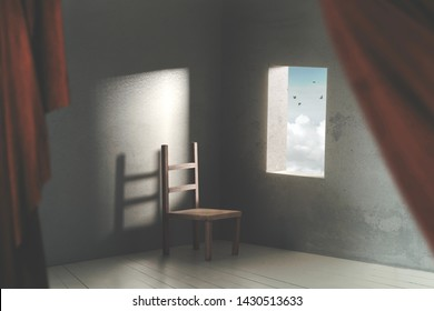 surreal room with chair and open window