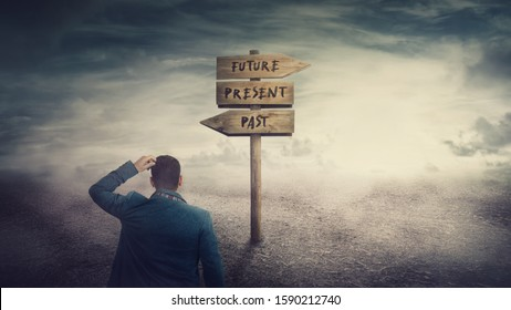 Surreal scene, businessman and a signpost arrows showing three different options, past, present and future course. Choose journey direction, time travel concept. Destiny evolution, important choice.
