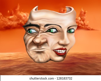 Surreal schizophrenic theater mask depicting mixed emotions