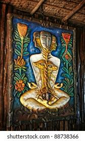 Surreal sculpture represented kundalini awakening in restaurant on Anjuna beach, Goa, India