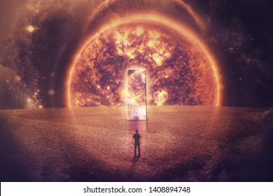Surreal space view as a confident man silhouette stands in front of a huge mirror door on an imaginary planet. Space teleportation technology over exploding quasar background. Light speed journey .