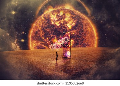 Surreal space view as a girl silhouette in front of a big mirror door on a imaginery planet. Cosmic teleportation technology and a mystic hand over exploding quasar background. Light speed journey .