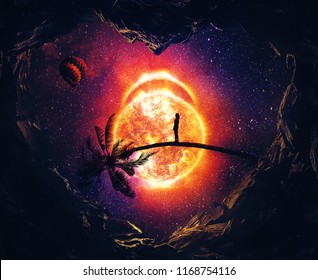 Surreal travel to the heart of the universe. Imaginary place as a heart shaped with a view to a shining star and a lonely girl waiting on a bent tree trunk. Cosmic mystic journey.