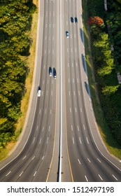 Surreal vertical panorama of I80 highway in New Jersey made using the inception effect to achieve a mind bending distorted perspective.