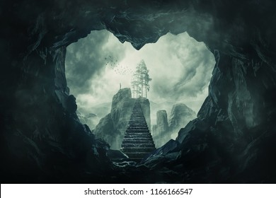 Surreal view heart shaped dark cave exit and mystic stairway crossing the misty abyss going up to unknown paradise. Opportunity staircase to love, way to success, freedom concept.