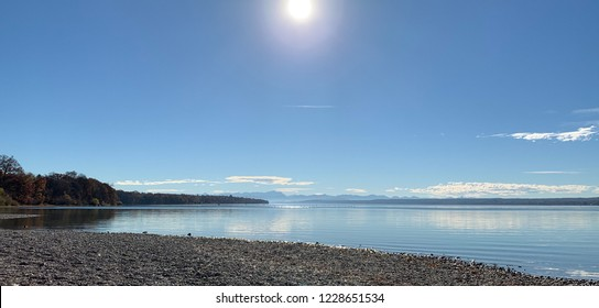 """Surreal view of the lake """"Ammersee"""" near Munich in Bavaria"""