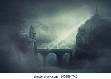 Surreal view as a lonely guy wanderer stand on a stone bridge surrounded by dark mountain cliffs with castle and old buildings on the peak top. The forgotten kingdom, scary night scene background.