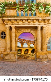 Surreal View of Pont du Gard through the Gate