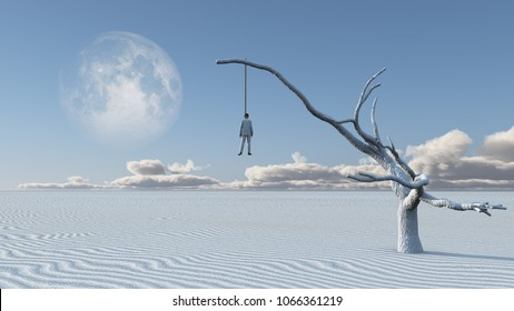 Surreal white desert. Man in white suit is hanged on a dry tree. 3D rendering