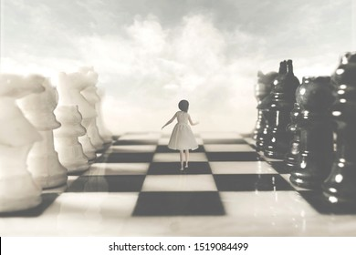 surreal woman walks with fear amidst chessboard rivals