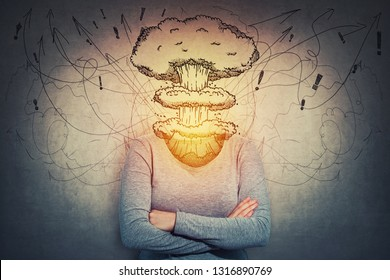 Surreal young woman head explosion, mental state problems as nuclear mushroom and mess instead of head. Anxiety and headache feeling. Alzheimer's losing brain and memory function, dementia disease.