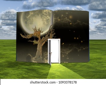 Surrealism. Book with opened door, old tree and full moon. 3D rendering