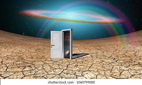 Surrealism. Door to another dimension. 3D rendering