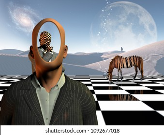 Surrealism. Faceless businessman with another thinking businessman behind him stands on chessboard. Lonely man in a distance. White sand dune. Striped horse like a tiger. 3D rendering