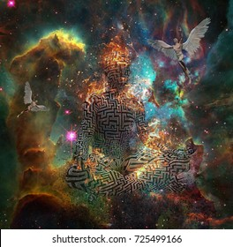 Surrealism. Figure of man with maze pattern in lotus pose in flames. Naked men with wings represents angels. 3D rendering. Some elements provided courtesy of NASA.