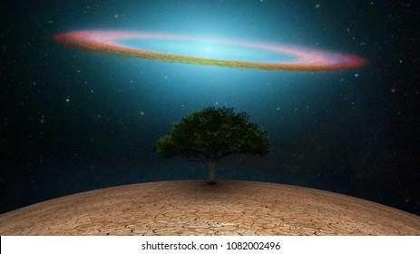 Surrealism. Green tree in arid land. Galactic disk in night sky. 3D rendering