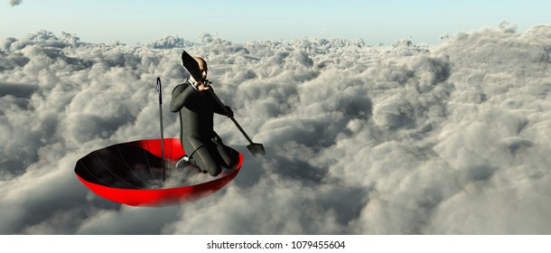 Surrealism. Man in a suit with paddle floats in red umbrella on clouds. 3D rendering