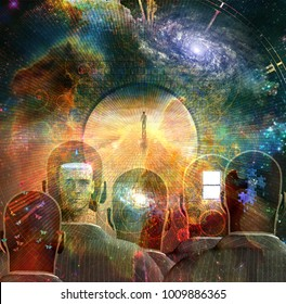 Surrealism. Man walks on a stone road in the space. Men's heads with different thoughts inside. 3D rendering. Some elements provided courtesy of NASA.