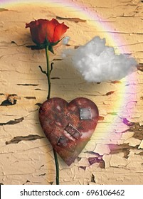 Surrealism. Red rose and rusted heart with metal patches. Cloud and rainbow.   3D rendering