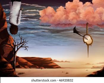 surrealist artwork of a desert landscape and ocean sky