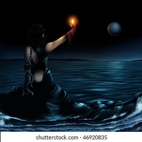 surrealist artwork of a woman wearing a dress which becomes the ocean