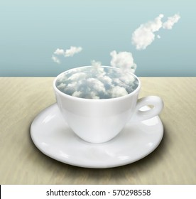 Surrealist image representing a cup and saucer with a cloudy sky instead of a drink