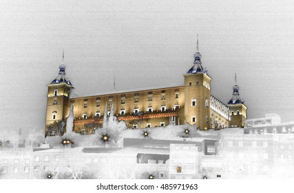 Surrealist photography of El Alcázar de Toledo, Spain, next to the River Tagus,  Castilla La Mancha, Christmas, snow fall, snow,