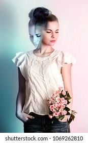 Surrealistic collage, the concept of duality. Woman with a bouquet of roses