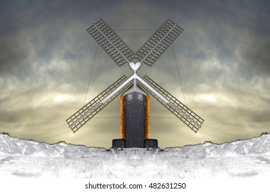 surrealistic composition of windmills, places to grind grain that Don Quijote de la Mancha mistook for giants in the novel of the same name written by Cervantes,3D illustration,