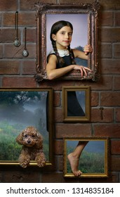 Surrealistic image with girl and her dog.