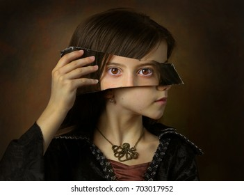 Surrealistic image of girl with mirror.
