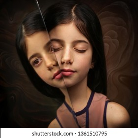 Surrealistic image with girls and her reflection