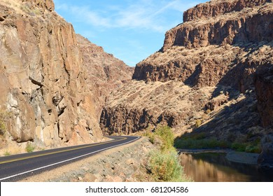 Surrealistic landscape of Picture Gorge in Eastern Oregon.