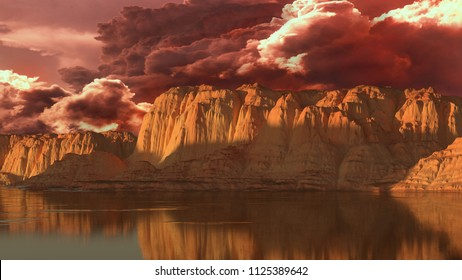 Surrealistic landscape of rocks, lake and clouds. 3D rendering.