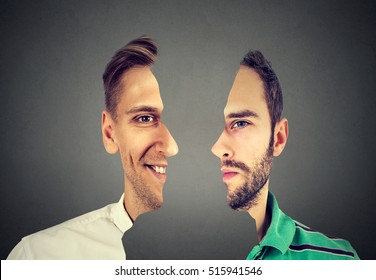 surrealistic portrait front with cut out profile of two young men isolated on grey wall background
