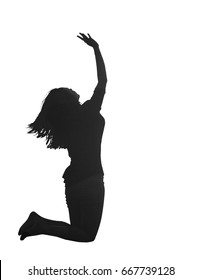 Surrender concept: Silhouette of beautiful woman kneeling and raised hands for worship God isolated on white background.