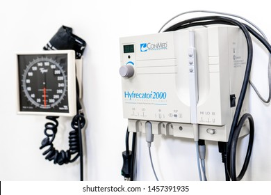 Surrey, BC / Canada - 06/11/19:  Hyfrecator electrosurgical, high-frequency eradicator used for wart removal, carcinoma, skin tag removal and other medical procedures. Mounted on a wall.