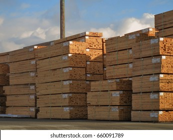 SURREY , BC, CANADA  FEB. 20, 2015.  Lumber awaiting shipment in a lumber yard.