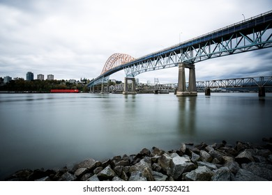 Surrey, BC / Canada - October 07, 2016: Pattullo bridge over the Fraser river.