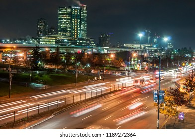 Surrey, British Columbia/Canada- Nov 4 2015: City of surrey at night, King George Ave. showing the traffic with motion blur, near surrey central.