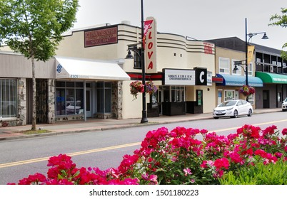 "Surrey, Canada - June 9, 2019: 176 Street. View of Clova Theatre which have been used as filming location ""Talon"" in TV Show ""Smallville"""